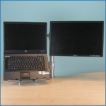 Post mount laptop stand with extra monitor