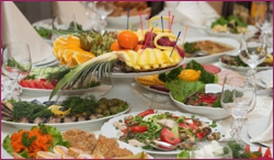 Festive banquet table with celebrate food in restaurant
