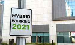 Hybrid,Working,2021,Sign,In,A,Downtown,City,Setting